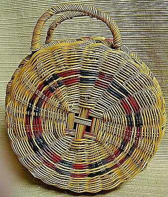 Beautiful & Intricate Small Round Lidded Basket w/ Double Handles