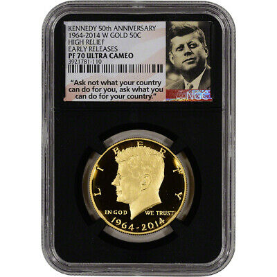 2014-W US Gold 50C Kennedy Proof NGC PF70 - Early Releases - Retro Holder