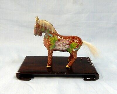 Antique Chinese cloisonne horse display wood stand retired circa mid Century