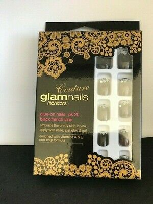 Couture Glam Nails by Manicare Glue on nails Black french lace. Easy to use