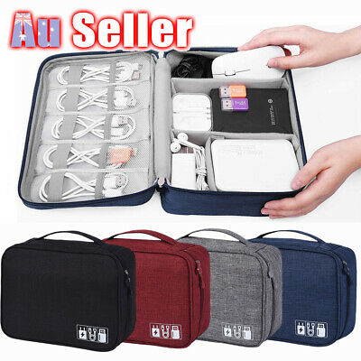 Electronic Accessories Travel Case Cable USB Organizer Bag Storage AU Charger