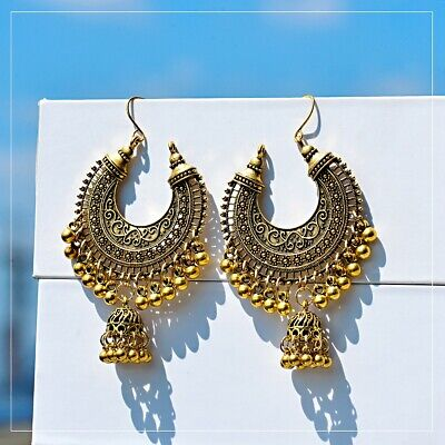 Retro Women Traditional Tribal Oxidized Jhumka Earrings Indian Bollywood Jewelry