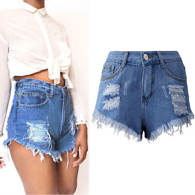 Vintage Womens Denim High Waisted Shorts Jeans  6 8 10 12 14 16 Fashion AU New