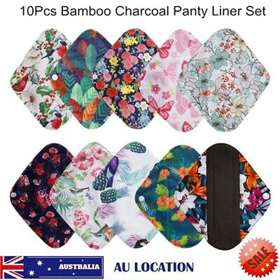 10 Pcs Cloth Menstrual Pads Bamboo Charcol Reusable Sanitary Liner Waterproof AU
