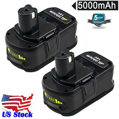 2xFor Ryobi P108 18V 5.0Ah Lithium Ion Battery Pack Replaces P122 P105 P104 P102