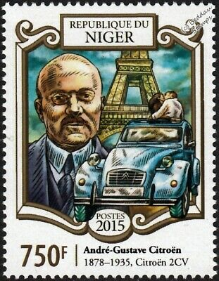 André-Gustave Citroën & CITROEN 2CV Car / Eiffel Tower Stamp (2015 Niger)