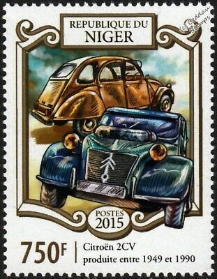 1949 & 1990 Citroën CITROEN 2CV Car / Automobile Stamp (2015 Niger)
