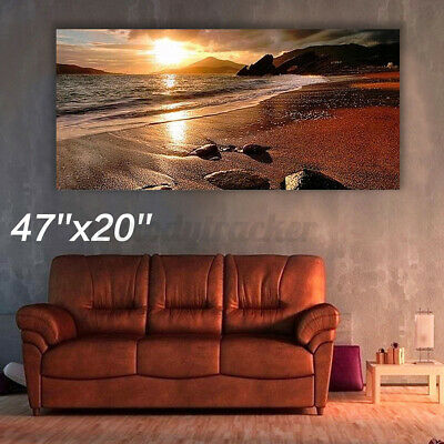 120x50cm Sunset Beach Landscape Wall Art Painting Print Home Decor Frameless