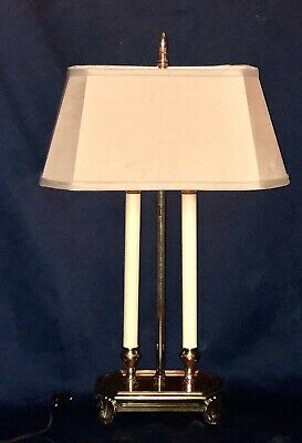 "Vintage 29"" Footed Brass FRENCH BOUILLOTTE Double Arm Candelabra 2 Light Lamp"
