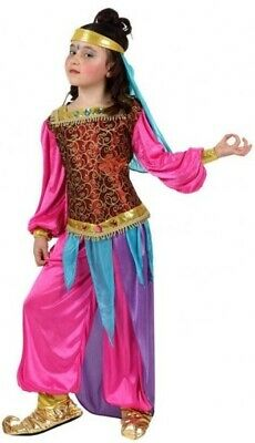 Girls Pink Arabian Nights Belly Dancer Arab Fancy Dress Costume Outfit 3-12 yrs