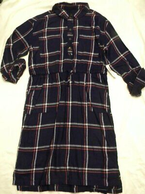 NEW Girls Old Navy Blue Pink White Plaid Button Front Shirt Dress Size XL 14
