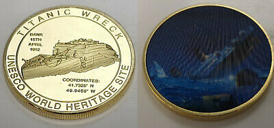 Titanic Gold 3D Coin Ship Wreck Film Leonardo de Caprio James Cameron TV Retro