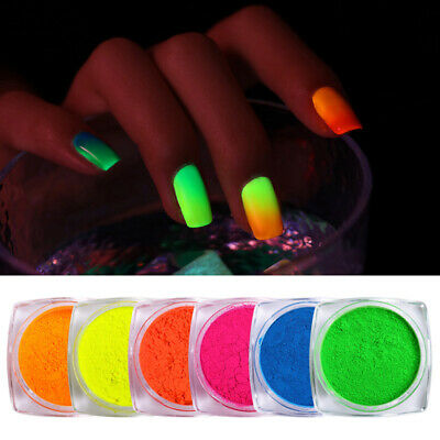 BORN PRETTY 2g Nail Powder Fluorescence Green Yellow Nail Pigment Dust in Box