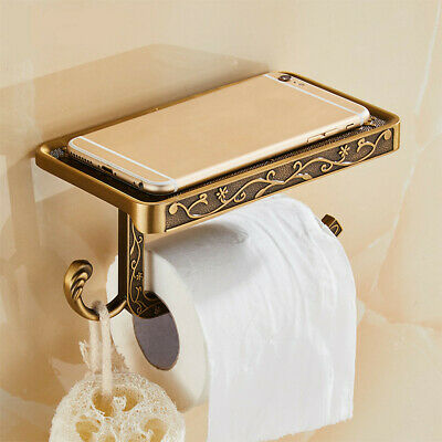 Antique Toilet Paper Holder Wall Mounted Rack w/ Phone Storage Shelf Holder USA