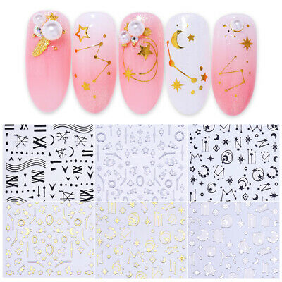 Nail Sticker Silver Moon Star Patterns Adhesive Transfer Decals 3D Nails Decors