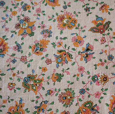 Vintage Small Scale Indienne Paisley Floral Cotton Fabric ~ Pink Tangerine Green