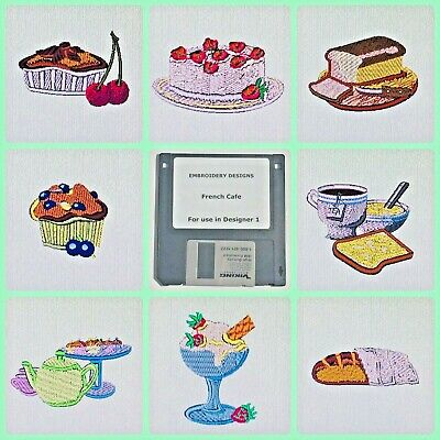 French Cafe Pastries Embroidery Designs Disk - for Husqvarna Viking Designer 1