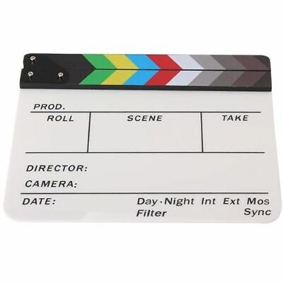Generic Acrylic Colorful Clapperboard TV Film Slate Cut Role Play Prop Hollywood