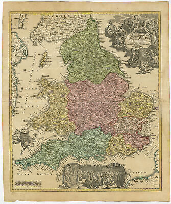 Antique Map-REGNUM ANGLIAE-ENGLAND-GREAT BRITAIN-Homann Heirs-c. 1720