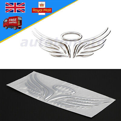 SELF ADHESIVE STICKER chrome silver halo and angel wings car