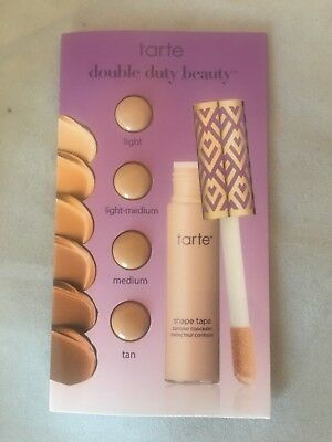 New! Tarte Double Duty Concealer Card 4 shades Light Light Medium Medium / Tan