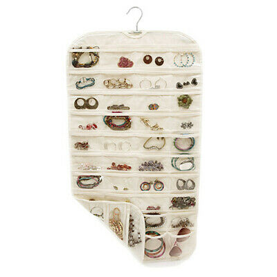 2 Side Hanging Jewelry Accessories Organizer Closet Clear Storage Bag 80 Pockets