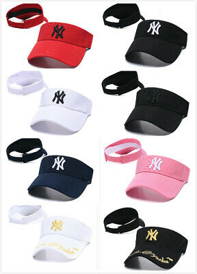 NY Visor Sun Plain Hat Sports Cap Colors Golf Tennis Beach Adjustable