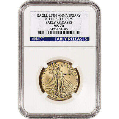 2011 American Gold Eagle 1/2 oz $25 - NGC MS70 Early Releases