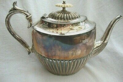 Antique Sheffield Silver Plate Epbm Teapot White Finial Flat Country House Prop
