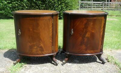 Rare Pair Vintage Strongbow Mahogany Oval Lamp Tables Bedside Tables Cabinets