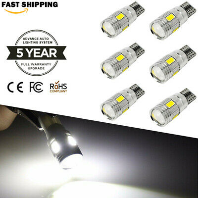 UK T10 501 W5W White Car Side Light Bulbs Error Free Canbus 6 SMD LED Xenon HID