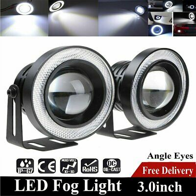 """2X COB 3.0"""" Universal Projector LED Fog Lights Lamps Halo Angel Eyes Rings White"""