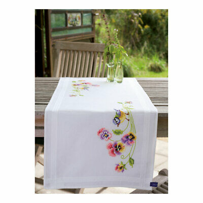 Vervaco Embroidery Kit Table Runner   Birds & Pansies   40 x 100cm