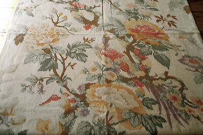 Antique French Exotic Bird Chinoisoire Floral Cotton Fabric ~ Yellow Lavender
