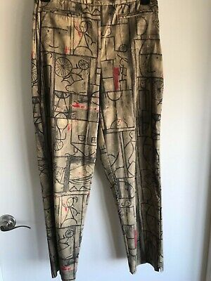 CHICO'S Artsy Art to Wear Slacks Pants Faces Print Pockets Elastic Waist EUC