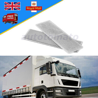 50x150mm Self-Adhesive White Oblong Rectangular Trailer Caravan Rear Reflectors