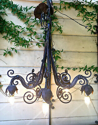 Antiq Vntg Gothic Spanish Wrought Iron Tudor Medieval Chandelier 5 Light Fixture