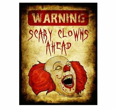 WARNING Scary Clowns Ahead Sign PHOTO Creepy Halloween Circus Clown Freak Funny