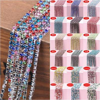 10M Wholesale 1-Row SS6/8/10/12/16 Cystal Rhinestones Trim Claw Close Cup Chain