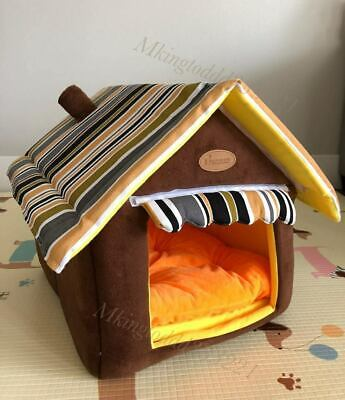 Dog Pet Puppy Foldable Indoor Bed House With Pad Size Medium