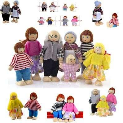 1 Set Wooden Furniture Dolls House Family Miniature 7 People Doll Toy For Kids