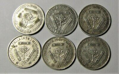 Six Silver South African Threepence - 1926,1927,1934,1936,1941,1950
