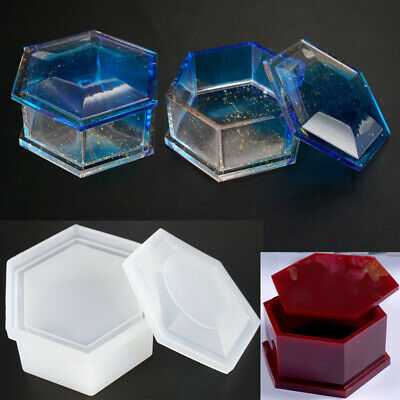 Silicone Hexagon Jewellery Storage Box Mold Resin Making Mould Casting Craft DIY