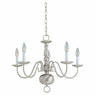 Sea Gull Lighting 3410  Traditional 5 Light Candle Style Chandelier - Nickel