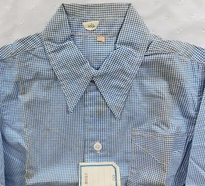 Vintage baby shirt 1930s 1940s Shop soiled Blue check blouse top UNUSED size 00