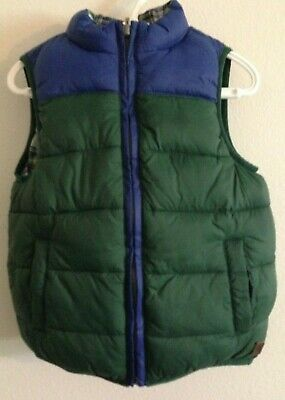 Janie & Jack Boys Reversible Blue Green Full Zip Puffer Vest  Size 3 to 4