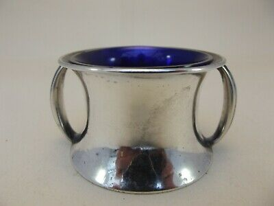 Edwardian Twin Handled HM Silver Mustard Pot - Sheffield 1902 Aitkin Brothers