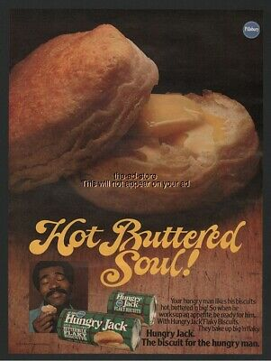 1979 Pillsbury Hungry Jack Hot Buttered Soul Black Magazine Print Ad