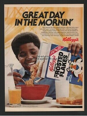 1979 Kelloggs Frosted Flakes Cereal Tony Tiger African American Black print ad
