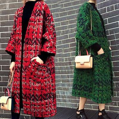 Womens Multi Color Wool tweed Coat Winter Trench Overcoat Jacket Outwear New Y1
